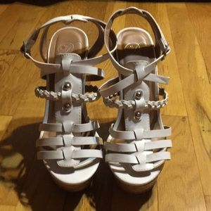 Shoes - white strappy cork wedges
